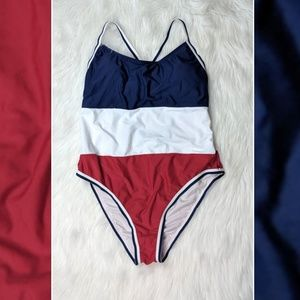 Xhilaration Red White & Blue One Piece Swimsuit XL